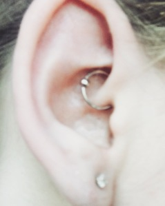 Photo of my daith piercing